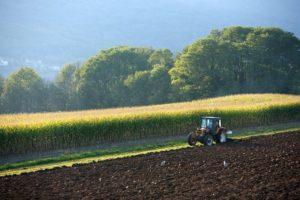 Tracteur, paysage vers Bassy, environs de Seyssel, Haute Savoie (74) - France
