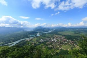 Le Rhone et la ville de Culoz depuis la montagne du grand Colombier, Ain (01),  France