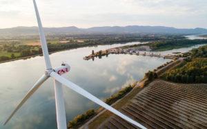 France, Ardeche (07), Le Pouzin, parc photovoltaique CNR (vue aerienne)