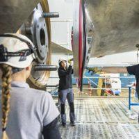 CNR, remontage de la roue de secours de la turbine à Logis-Neuf