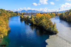 Suisse, canton de Geneve, Geneve, pointe de la Jonction, confluence entre fleuve le Rhone et riviere L'Arve